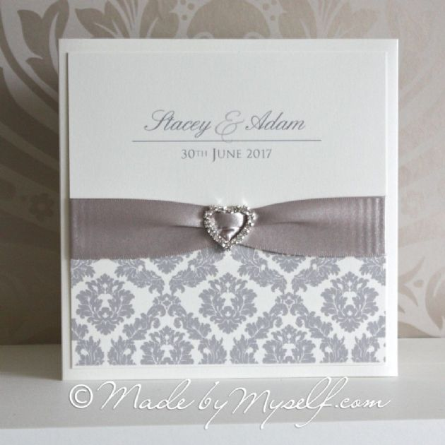 Ribbon Heart Damask Pocketfold Wedding Invitation